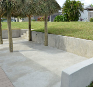 The butt-nosed Dock also known as a Concrete Patio comes in two sizes, our small Buttnose is 8 1/2' x 15' and the large is 8 1/2' x 20'  with 2' Retaining Wall.
